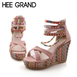 HEE GRAND Crystal High Wedge Bead Sandles