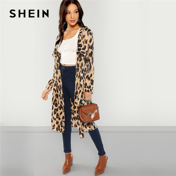 SHEIN Open Front Shawl Collar Leopard Print Fashion Coat