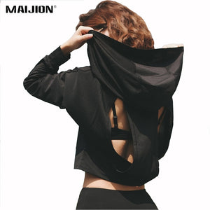 MAIJION Breathable Hooded Open Back Gym Hoody