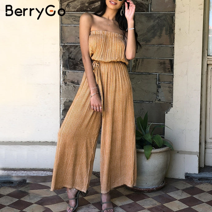 BerryGo Off shoulder sexy jumpsuit