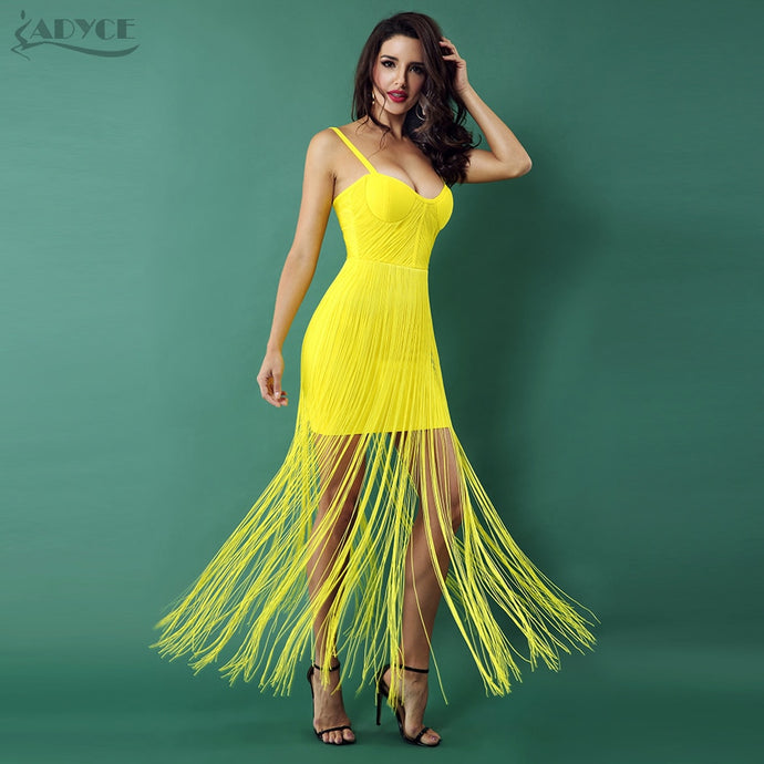 Adyce Bandage Yellow Sexy Tassels Fringe Dress
