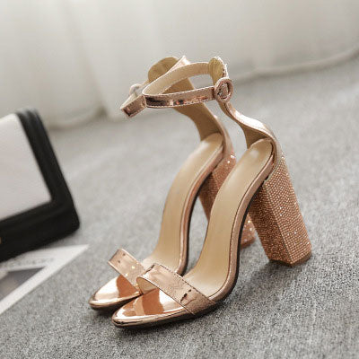 Super High-Heeled Buckle Strap Pointed Toe Sandals Ankle Strap sandles