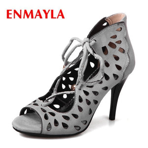 ENMAYLA Lace-Up hollow out high Heels Sandles