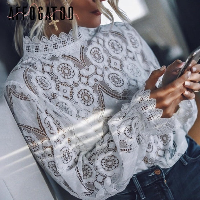 Affogatoo vintage lace white lantern sleeve blouse