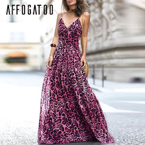 Affogatoo leopard Chiffon backless sexy party dress