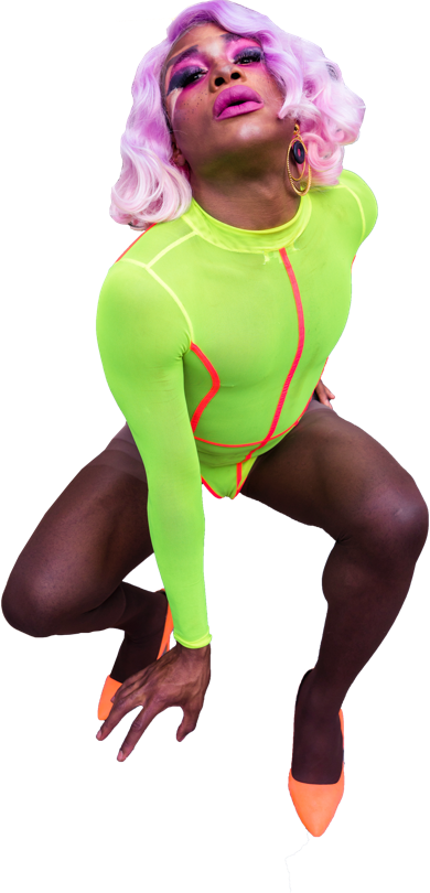 Drag queen in neon green leotard and pink curly wig