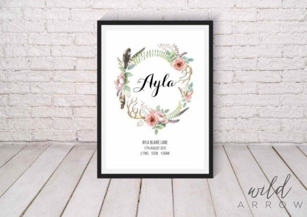 Boho Nature Birth Print A0 (84.1Cm X 118.9Cm) Kids & Nursery