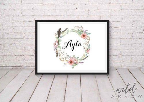 Boho Nature Name Print A0 (84.1Cm X 118.9Cm) Kids & Nursery