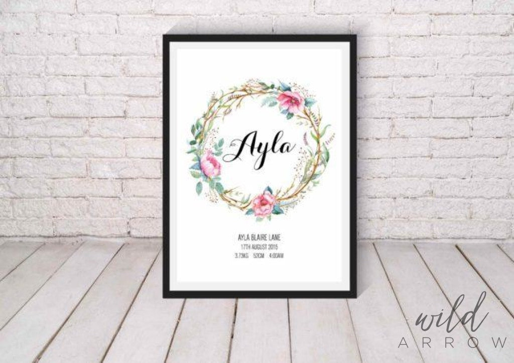 Floral Crown Birth Print A0 (84.1Cm X 118.9Cm) Kids & Nursery