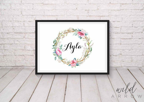 Floral Crown Name Print A0 (84.1Cm X 118.9Cm) Kids & Nursery