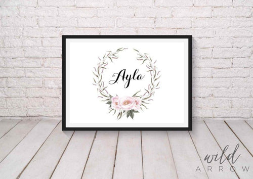 Floral Princess Name Print A0 (84.1Cm X 118.9Cm) Kids & Nursery