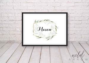 Greenery Name Print A0 (84.1Cm X 118.9Cm) Kids & Nursery