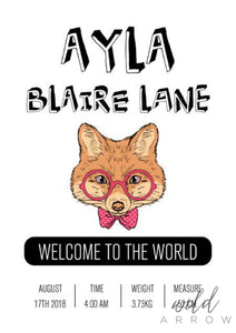 Hipster Fox Birth Print A0 (84.1Cm X 118.9Cm) / Pink Kids & Nursery