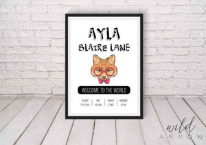 Hipster Fox Birth Print Kids & Nursery