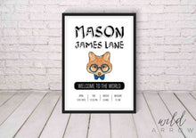 Load image into Gallery viewer, Hipster Fox Birth Print Kids & Nursery