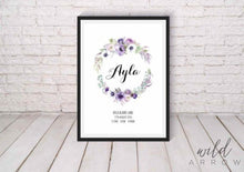 Load image into Gallery viewer, Purple Wreath Birth Print A0 (84.1Cm X 118.9Cm) Kids & Nursery