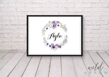 Load image into Gallery viewer, Purple Wreath Name Print A4 (21Cm X 29.7Cm) Kids & Nursery