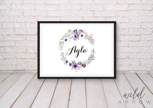 Purple Wreath Name Print A4 (21Cm X 29.7Cm) Kids & Nursery