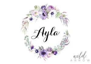 Purple Wreath Name Print Kids & Nursery