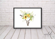 Load image into Gallery viewer, Sunflower Skull Print A0 (84.1Cm X 118.9Cm) Watercolour