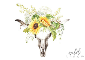Sunflower Skull Print Watercolour