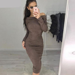 Suede Off The Shoulder Dress - coolstreetswear