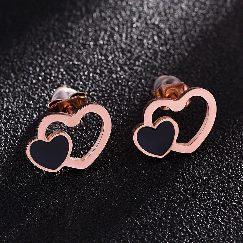 Double Heart Stainless Steel Rose Gold Stud Earrings