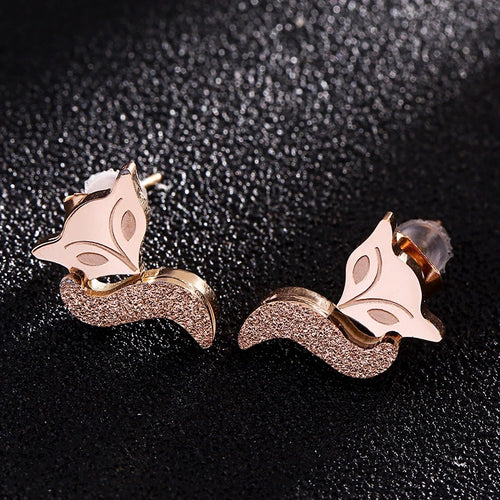 Rose Gold Fox Studs