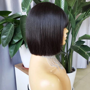 "12"" Bob with Bangs 130% Denisty Closure Glueless"