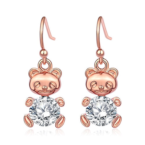 Cuban Zirconia Rose Gold Teddy Earrings