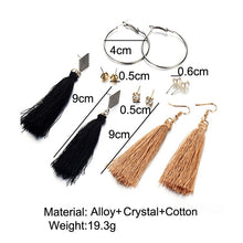 Load image into Gallery viewer, Bohemian Tassel & Hoops earring set