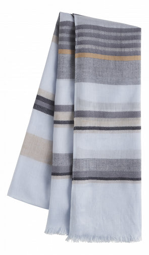 Woven scarf with stripes -Blue Grey