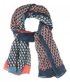 Scarf with graphic print in two colours - Deep Lagoon