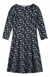 Fit and flare dress with a print  -Black