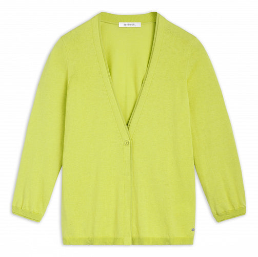 Cardigan with deep V-neck -True Lime