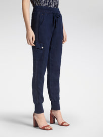 Linen cargo trousers with mesh details - Navy
