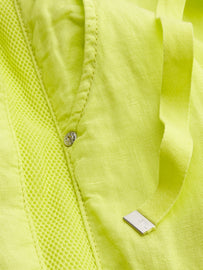 Linen cargo trousers with mesh details - True Lime