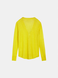 Cardigan with single snap button - Blazing Yellow