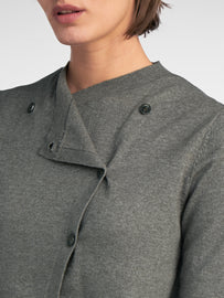 Cardigan with asymmetrical button closure - Thyme