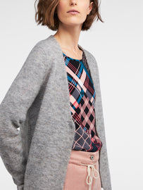 Mottled cardigan with notched hem -Winter Grey Heather