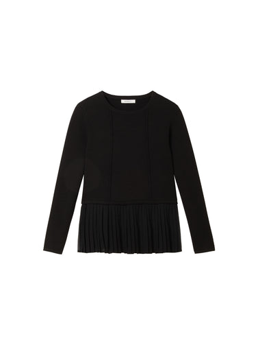 Sweater with pleated hem  -Black