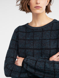 Jacquard mottled sweater with plaid  -Black