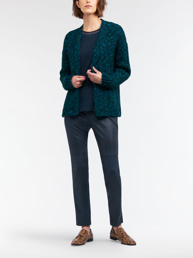 Two-tone knitted cardigan  -Lagoon