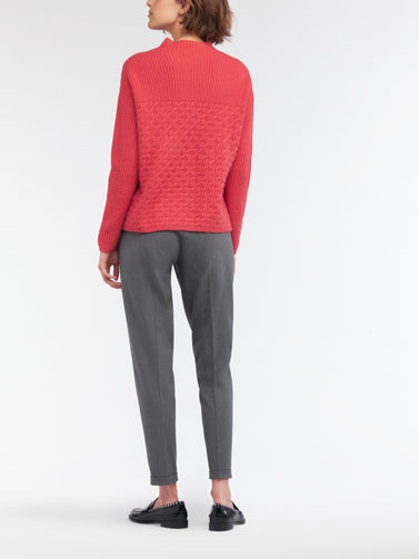 Sweater with two different knits  -Intense Pink