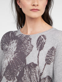 Sweater with floral motif  -Pearl Grey Heather
