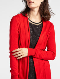 Mid-length open-fit cardigan -Red