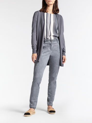 Mid-length open-fit cardigan -Blue Grey