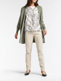 Mid-length open-fit cardigan -Washed Sage