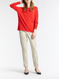 Casual sweater in a fine knit -Red