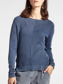 Comfortable sweater with rib-knit front -Navy